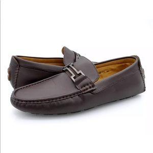 Bruno Marc Mens 11 Brown Hugh Leather Loafer Shoes